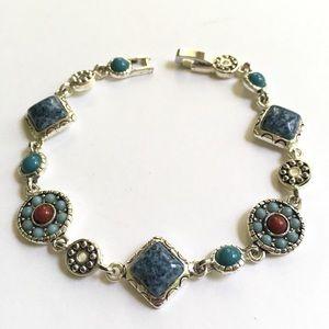Jewelry - Silvertone Blue Turqoise Fashion Bracelet